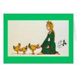Tres gallinas francesas (vestido verde) tarjeta
