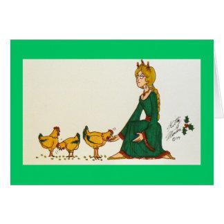 Tres gallinas francesas (vestido verde) tarjeta de felicitación