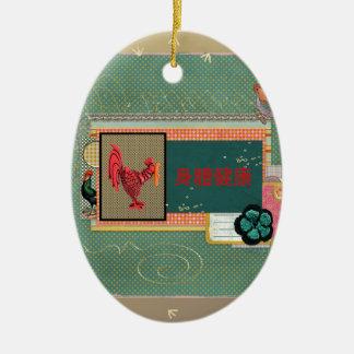 Tres gallos, Feliz Año Nuevo en chino, muestra de Adorno Navideño Ovalado De Cerámica
