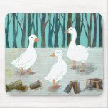Tres gansos blancos tapete de ratones