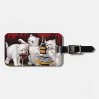 Tres gatitos alegres etiqueta para equipaje