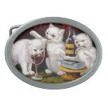 Tres gatitos alegres hebillas cinturon ovales