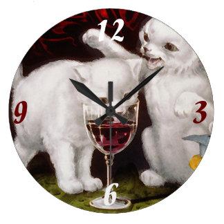 Tres gatitos alegres reloj redondo grande