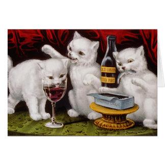 Tres gatitos alegres tarjeta de felicitación