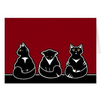 Tres gatitos no tan amistosos tarjeta de felicitación