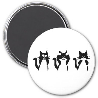 Tres gatitos sabios imán redondo 7 cm