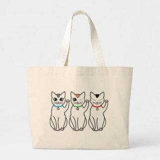 Tres gatos afortunados bolsas lienzo