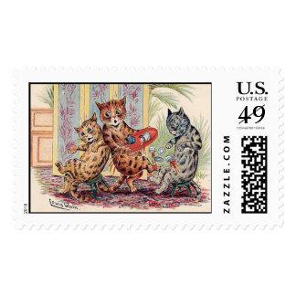 Tres gatos antropomorfos timbre postal