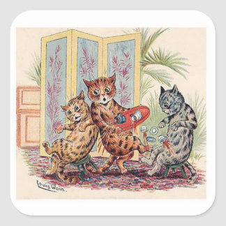 Tres gatos de Louis Wain Pegatina Cuadrada