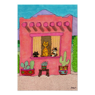 Tres gatos en una casa de Adobe rosada Posters