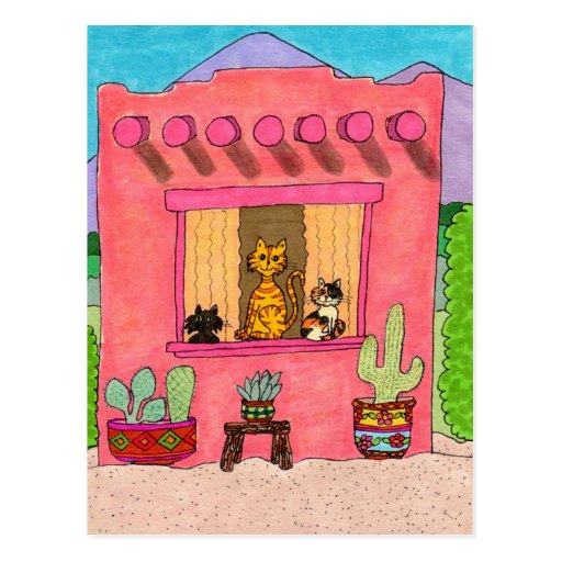 Tres gatos en una casa de Adobe rosada Tarjeta Postal
