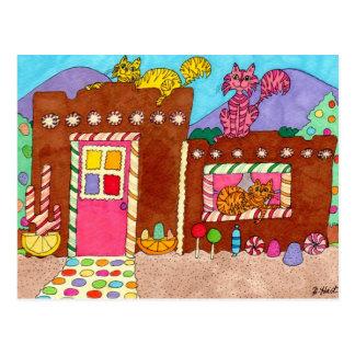 Tres gatos en una casa de pan de jengibre de Adobe Tarjeta Postal
