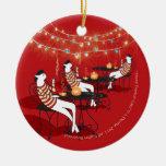 Tres gatos franceses (ornamento del árbol de adorno navideño redondo de cerámica