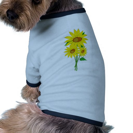 Tres girasoles camiseta con mangas para perro
