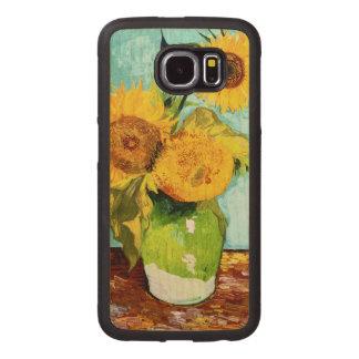 Tres girasoles por la bella arte de Van Gogh Fundas De Madera Para Samsung S6