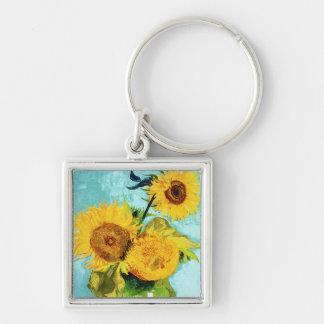 Tres girasoles por la bella arte de Van Gogh Llavero Cuadrado Plateado