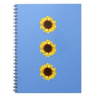 Tres girasoles soleados libro de apuntes con espiral