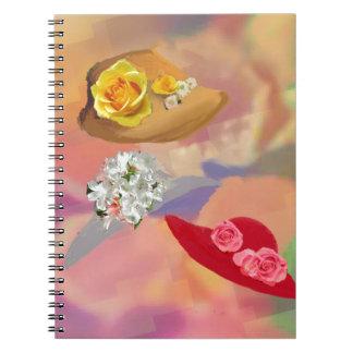 Tres gorras con las flores spiral notebooks