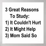 Tres grandes razones para estudiar (versión de la  poster