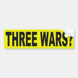 ¿Tres guerras? Pegatina para el parachoques Pegatina Para Auto