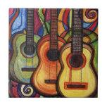 Tres guitarras azulejos ceramicos