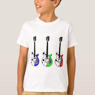 Tres guitarras eléctricas - arte pop de neón playera
