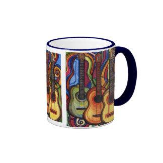 Tres guitarras tazas de café