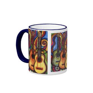 Tres guitarras taza de dos colores
