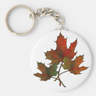 Tres hojas de arce en otoño: Arte del realismo Llavero Redondo Tipo Pin