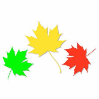 Tres hojas de arce fotoescultura vertical