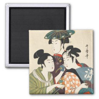 Tres hombres jovenes o mujeres, Utamaro Imán De Frigorifico