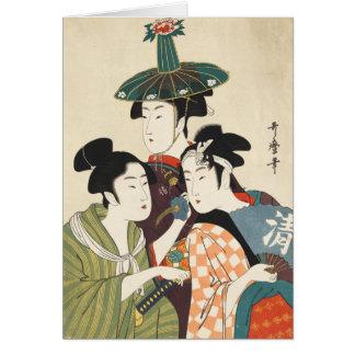 Tres hombres jovenes o mujeres, Utamaro Felicitacion
