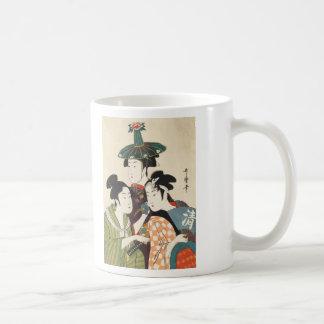 Tres hombres jovenes o mujeres, Utamaro Taza De Café