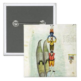 Tres hombres que equilibran en dos góndolas, 1772 pin cuadrada 5 cm