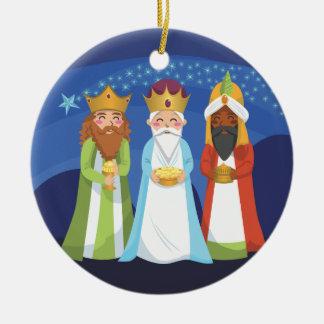 Tres hombres sabios adorno navideño redondo de cerámica