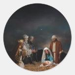 Tres hombres sabios en la natividad etiqueta redonda