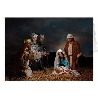 Tres hombres sabios en la natividad tarjetón