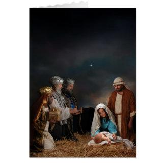 Tres hombres sabios en la natividad felicitaciones