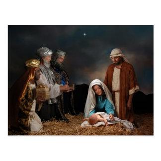 Tres hombres sabios en la natividad tarjeta postal