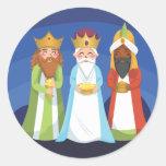 Tres hombres sabios etiqueta redonda