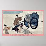 Tres hombres y dos chicas con un oxcart rodado dos posters