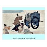 Tres hombres y dos chicas con un oxcart rodado dos tarjetas postales