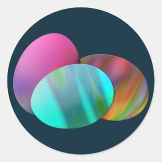 Tres huevos de Pascua Etiquetas Redondas