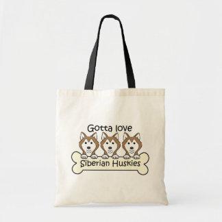 Tres huskyes siberianos bolsas lienzo
