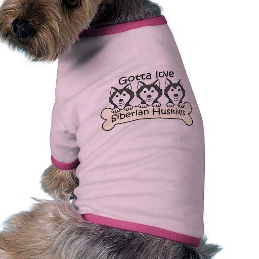Tres huskyes siberianos camiseta con mangas para perro