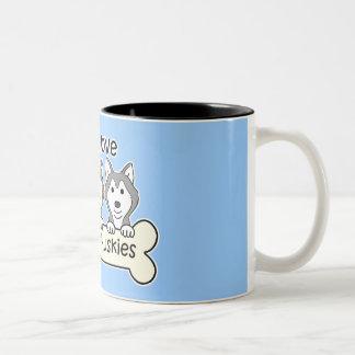 Tres huskyes siberianos taza de café