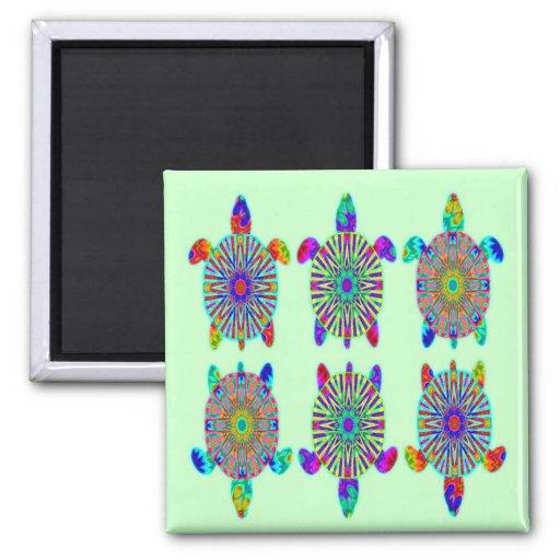 Tres imanes coloridos de las tortugas imán