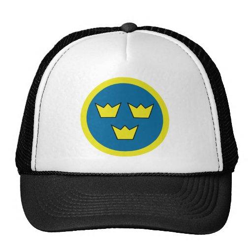 Tres insignias del sueco de las coronas gorro