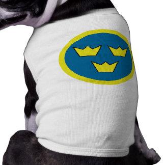 Tres insignias del sueco de las coronas playera sin mangas para perro
