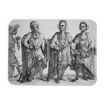 Tres jefes cherokees americanos, 1762 (grabado) imanes flexibles